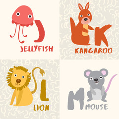Cute Animal Alphabet Set : Letter J,K,L,M : Vector Illustration
