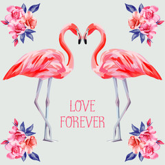 slogan love forever rose and pink flamingos