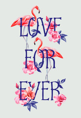 slogan love forever rose and pink flamingos A4 style