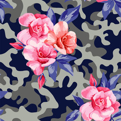 camo military in blue grey color with pink roses