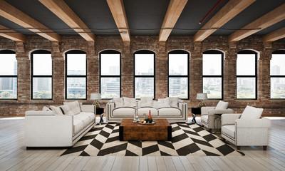 3D render loft living area