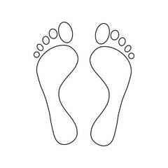 Human feet icon in outline style isolated on white background
