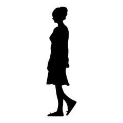 Vector illustration of a silhouette of a girl walking through the city