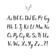 Vector hand drawn alphabet  on white background. Brush painted doodle letters.
