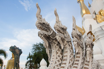 Stone Naga In Temple Of Thailand