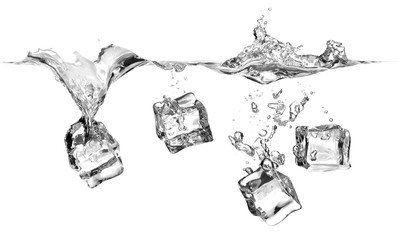 Ice cubes falling into water