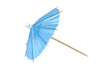 Cocktail umbrella isolated on a white background Blue paper cocktail or drink umbrella isolated on a white background