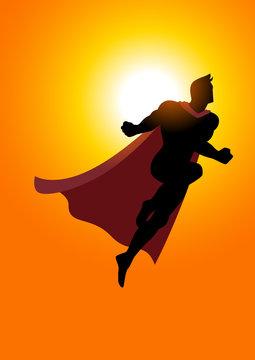 Superhero flying at sunrise