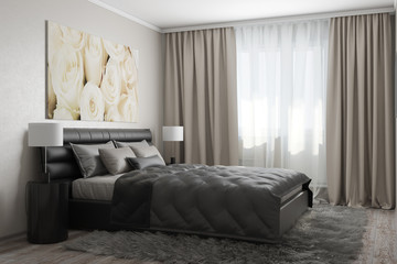 3D rendering of modern bedroom with white roses4
