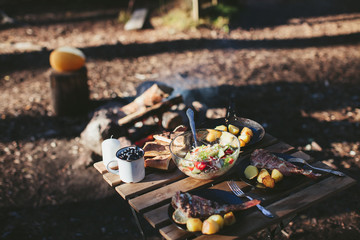 Dinner on the nature of the fire. Fish with potatoes and salad