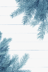 Christmas Tree , Branch On The Wooden Background./Christmas Tree , Branch On The Wooden Background