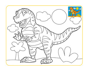 Coloring page - dinosaur - coloring page - isolated - illustration for children