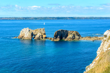 Sea at Camaret-sur-Mer in Brittany, France