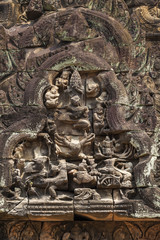 Bas-reliefs in Banteay Samre hindu temple, Angkor, Cambodia