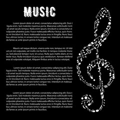 Music arts banner with treble clef and notes