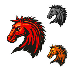 Horse stallion head emblem icons