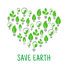 Save Earth. Green leaf energy poster