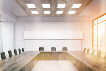 Meeting room with narrow horizontal poster