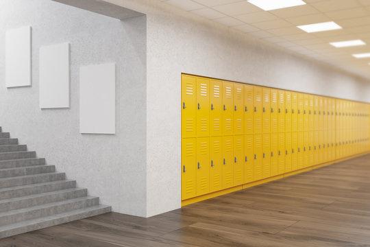 School corridor with posters