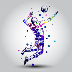Illustration of abstract volleyball player