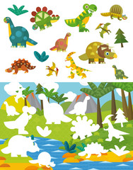 Cartoon dinosaur exercise page - matching game - illustration for children