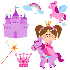 Pretty fairy princess riding a horse, a castle, unicorn, rainbow, crown and magic wand  vector set