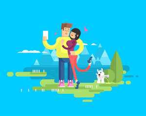 illustration of happy married couple on vacation, man and woman make selfie