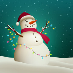 Vector Illustration of a Fun Snowman with Colorful Holiday Lights