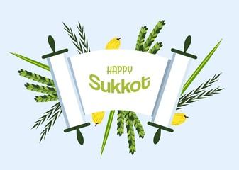 Jewish holiday Sukkot. torah with Lulav, ,Etrog, Arava and Hadas. Four species symbols date palm, citron, willow, myrtle