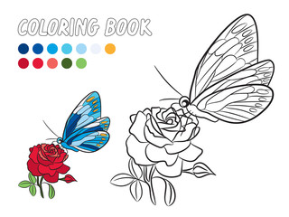 Blue butterfly with yellow dot wings, red rose flower and green leaf isolated drawing coloring