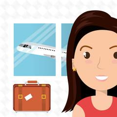 woman suitcase airplane window vector illustration design