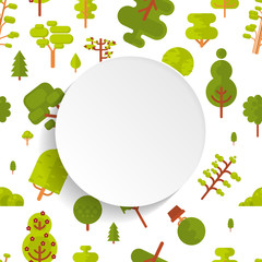 illustration seamless pattern with green trees and bushes on white background in flat style