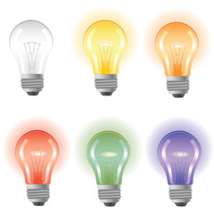 Five burning colored bulbs and one not burning not color