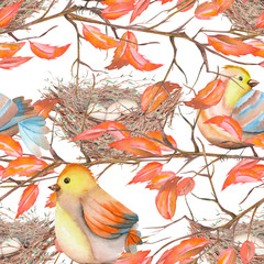 Seamless pattern of the watercolor birds and nests on the tree branches with red leaves, hand drawn on a white background