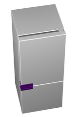 White refrigerator with purple handle. 3D rendering.