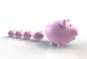 Large group of pink piggy banks with one big leader