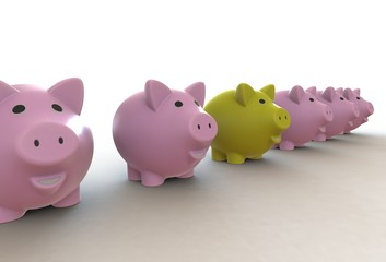 Large group of pink piggy banks with one yellow leader