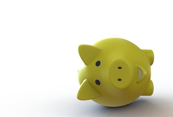 Yellow piggy bank isolated on white background