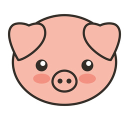 cute pig animal tender isolated icon