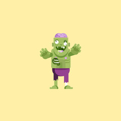 illustration zombie character with brains for halloween in a flat style