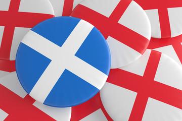 Independence: Scottish Flag And English Flag Badges, 3d illustration