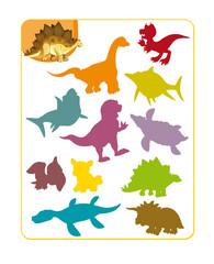 Cartoon dinosaur exercise page - illustration for children