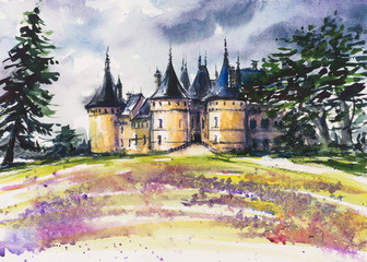 Chaumont- old medviedal castle watercolor painted.