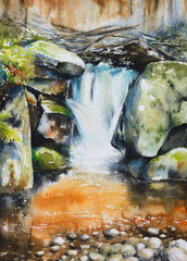 Waterfall in deep autumn forest.Picture created with watercolors.