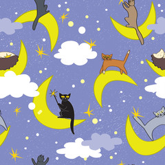 Cats seamless pattern. Cats sitting on moons in different poses. Fairy background.