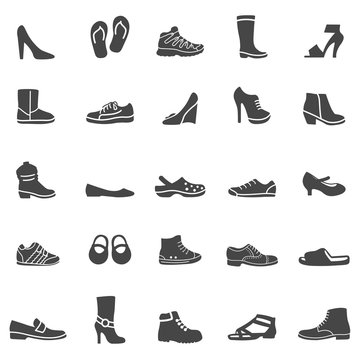 Shoes Icons. Black Series