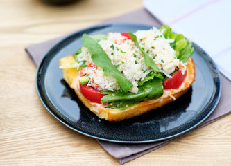 Crab bruschetta in restaurant