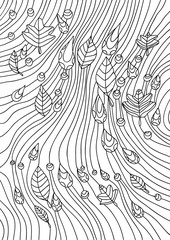 Coloring book for adults. An abstract pattern of rain and autumn