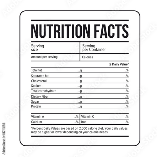Nutrition facts label template vector stock image and for Nutrition facts table template