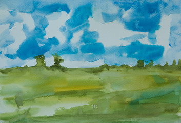 Abstract field with blue sky , watercolor painting